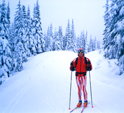 Happy Skier Fully Equipped by Devils Track Nordic Ski Shop